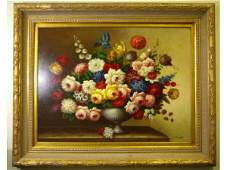 CONTEMPORARY FLORAL STILL LIFE OF LARGE SIZE