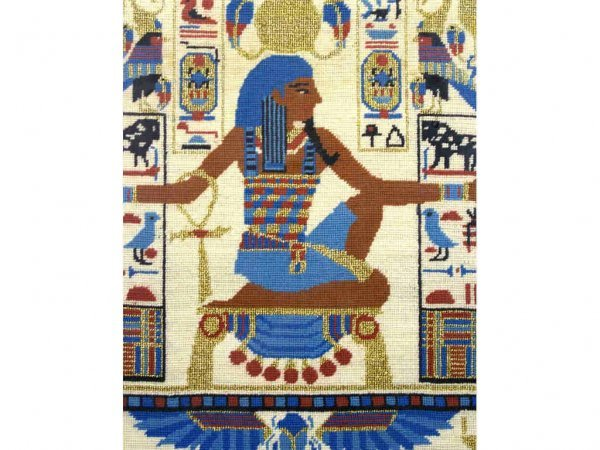 3: EGYPTIAN MOTIF NEEDLEWORK PICTURE, 18x14in.