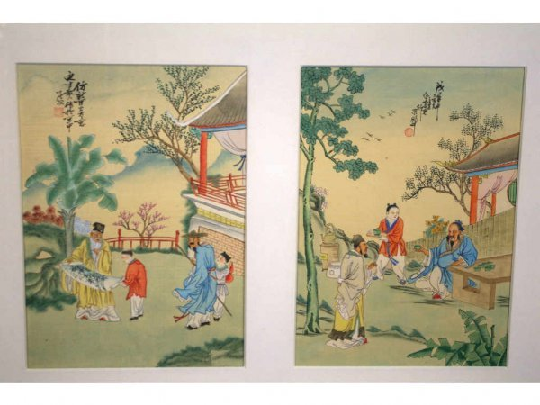 12: PAIR OF CHINESE WATERCOLORS DEPICTING SCHOLARS