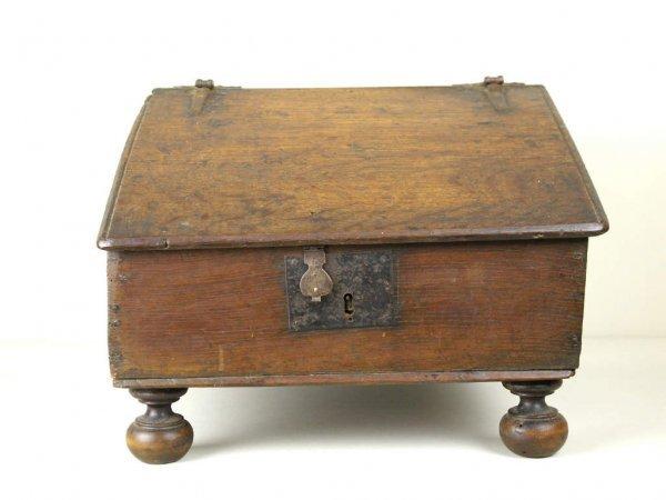 22: ANTIQUE OAK SLANT-FRONT BIBLE BOX