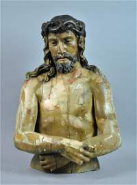 SPANISH OR ITALIAN SCHOOL CARVED & PAINTED CHRIST