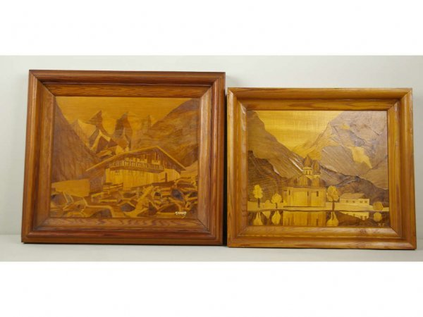 3: TWO MARQUETRY INLAY FRAMED PICTURES