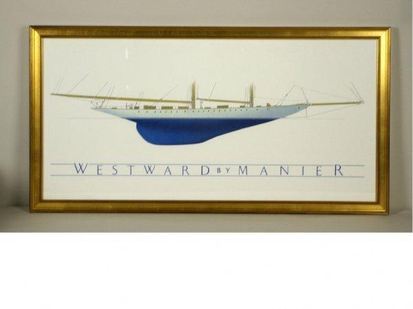 8: SAILING SHIP LITHOGRAPH TITLED WESTWARD BY MANIER