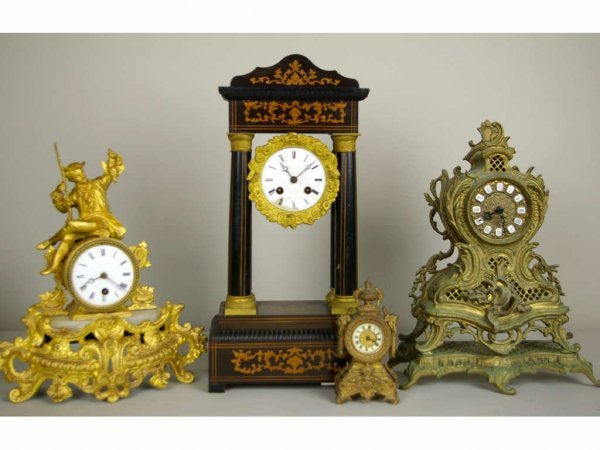 87: 4-PIECE AS-IS FRENCH-STYLE CLOCK GROUP