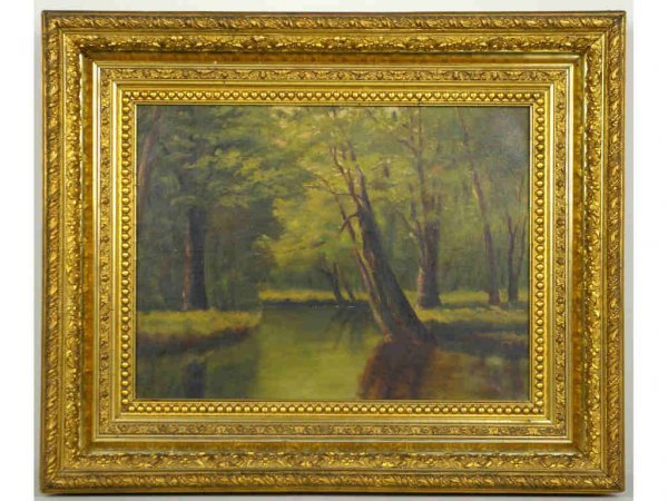 5: LANDSCAPE PAINTING DEPICTING A FOREST & POND