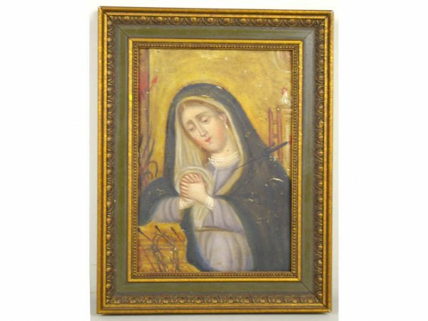 6: OIL ON TIN PAINTING OF A CRYING MADONNA, 10x7in.