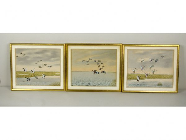 10: THREE P.C. WHARTON WATERCOLORS, DUCKS IN FLIGHT