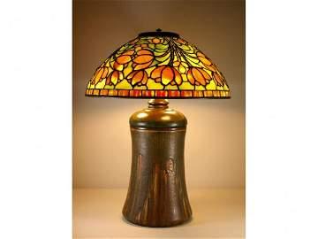 144: TIFFANY STUDIOS CROCUS LAMP ON ROOKWOOD BASE