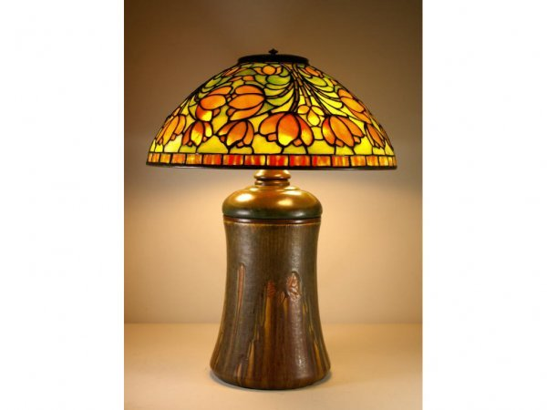 144: TIFFANY STUDIOS CROCUS LAMP ON ROOKWOOD BASE