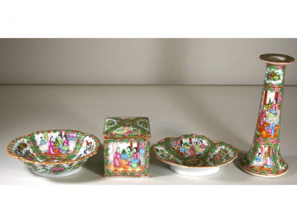 258: FOUR CHINESE EXPORT ROSE MEDALLION TABLEWARES