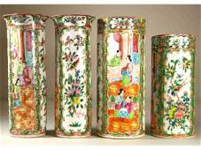 259: FOUR CHINESE EXPORT ROSE MEDALLION VASES, 19thC.