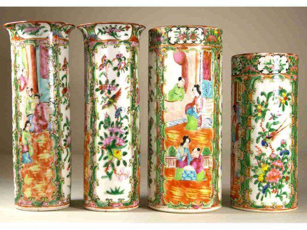 259: FOUR CHINESE EXPORT ROSE MEDALLION VASES, 19thC.