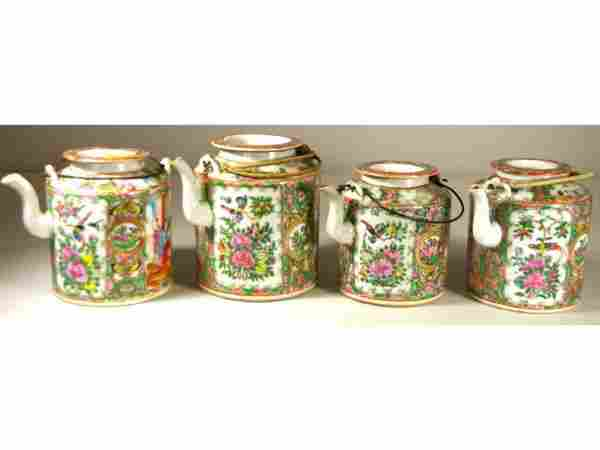 261: FOUR CHINESE EXPORT ROSE MEDALLION TEAPOTS, 19thC.