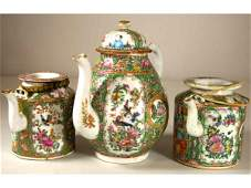 262 THREE CHINESE EXPORT ROSE MEDALLION TEAPOTS