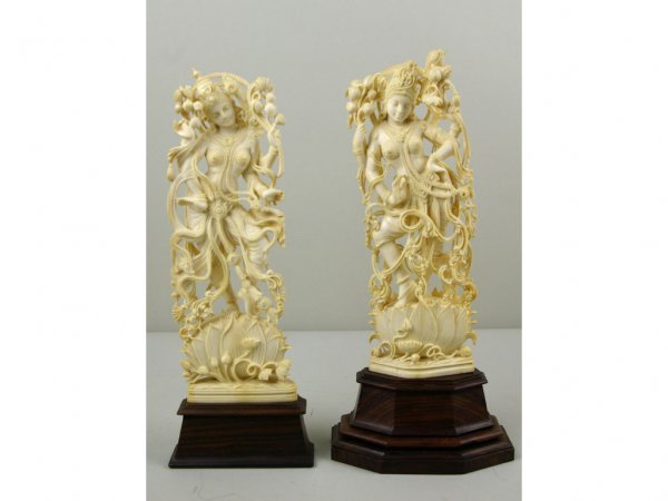 272: TWO CARVED IVORY OR BONE FIGURES OF LAKSHMI