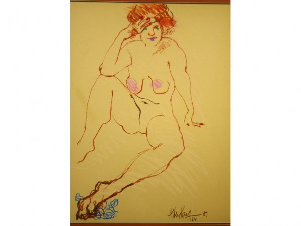 2: MIXED MEDIA ARTWORK OF A NUDE SIGNED ALLEN KAY