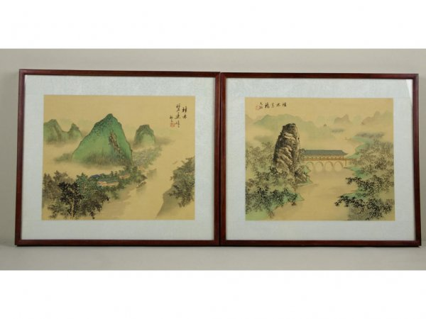 5: PAIR OF ASIAN LANDSCAPES PAINTED ON SILK, 11x14in.