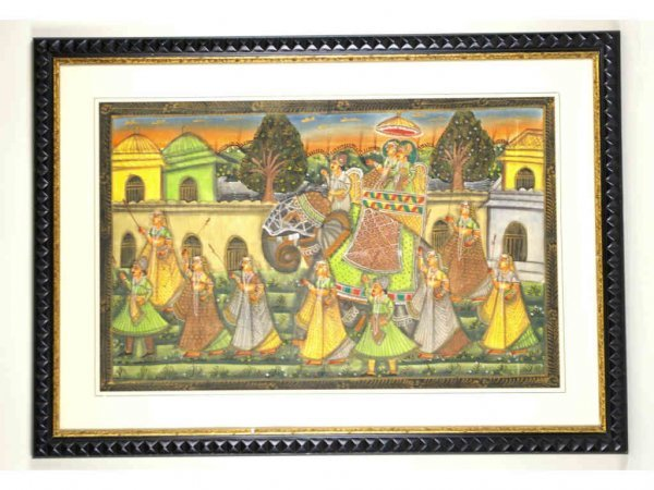 8: LARGE PAINTING ON TEXTILE OF INDIAN WEDDING SCENE