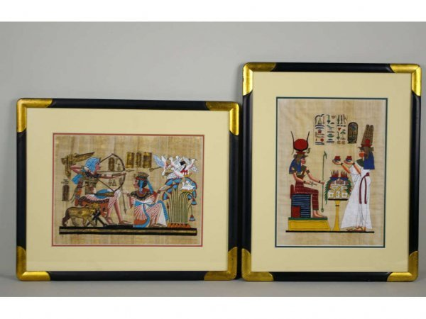10: 2 EGYPTIAN PAINTINGS ON PAPYRUS, largest 15x11in.