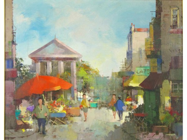 24: OIL ON CANVAS PAINTING OF A STREET SCENE