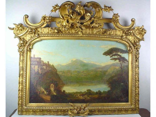 54: LARGE ITALIAN PAINTING IN HEAVILY ORNAMENTED FRAME