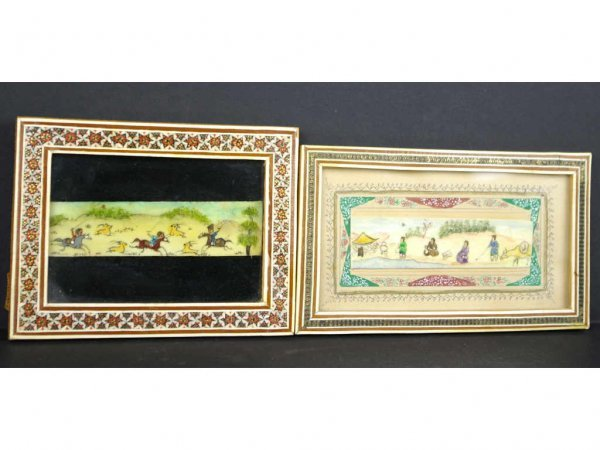 3: TWO MINIATURE PERSIAN PAINTED SCENICS