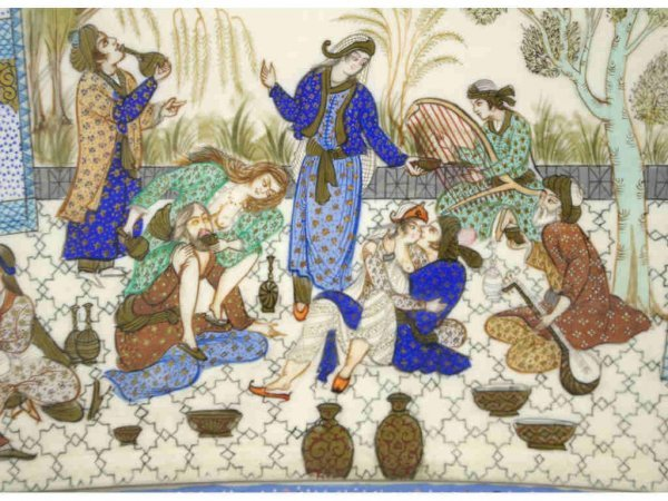 5: PERSIAN PAINTED COURTYARD SCENE