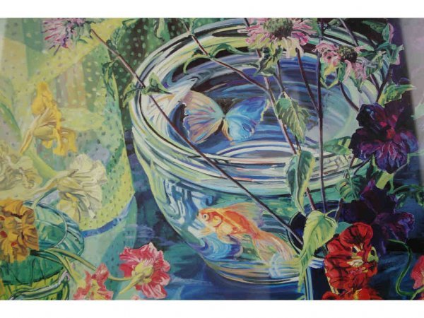 8: STILL LIFE ART PRINT WITH FISH BOWL, 25x23in.