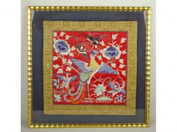 13: FRAMED EMBROIDERY ON SILK OF BIRDS AND FLORALS
