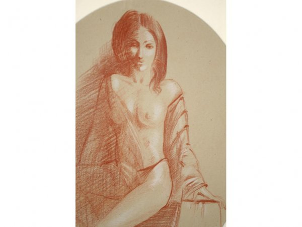 16: SKETCH OF A DRAPED NUDE SIGNED V. WELLS, 14x11in.