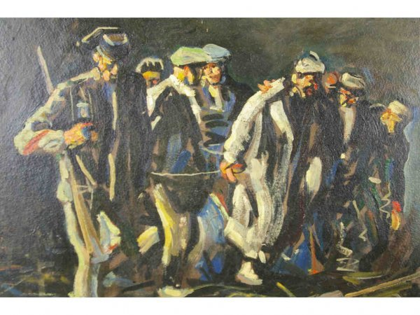 21: OIL ON BOARD PAINTING, PRISONER MARCH