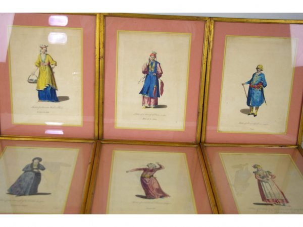 24: SET OF SIX HAND-COLORED ETCHINGS