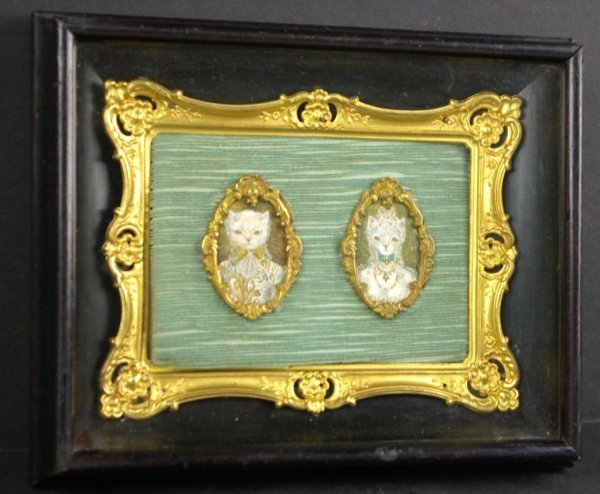 6: MINIATURE DOUBLE PORTRAIT OF FORMALLY DRESSED CATS