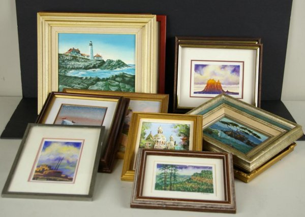 8: GROUP OF 12 DECORATIVE OIL PAINTINGS & WATERCOLORS