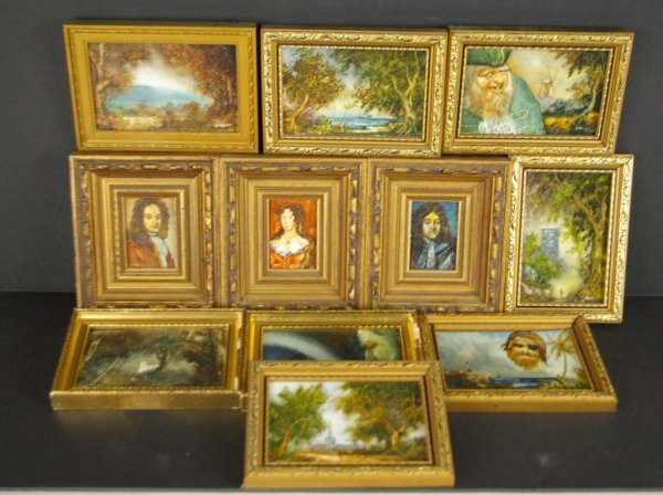 12: GROUP OF 11 MINIATURE PAINTINGS SIGNED R.J. HALL