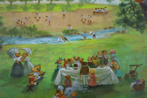 19: CONTEMPORARY PAINTING OF A TEDDY BEAR PICNIC