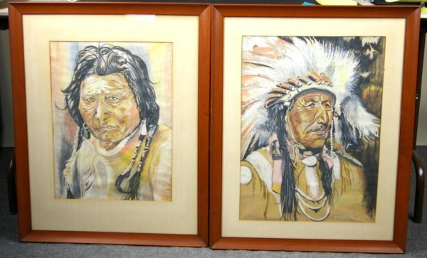20: PAIR OF PASTELS DEPICTING AMERICAN INDIANS