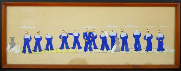22: WATERCOLOR AND GOAUCHE OF SAILORS URINATING