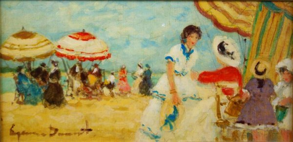 23: DUMONT OIL ON CANVAS OF A BEACH SCENE WITH FIGURES