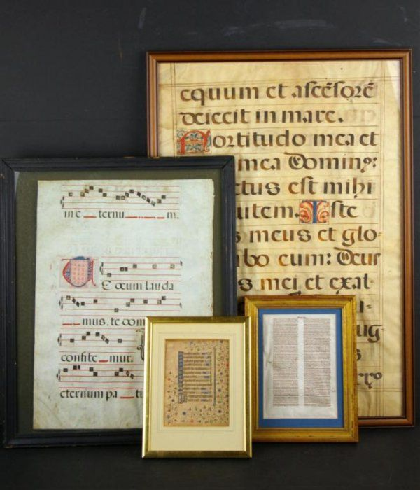 FOUR FRAMED ILLUMINATED LATIN PAGES