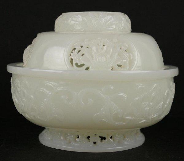 157: CHINESE CARVED WHITE JADE CENSOR