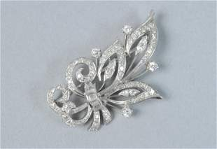 PLATINUM & DIAMOND FLORAL SPRAY PIN, 2.30CTW