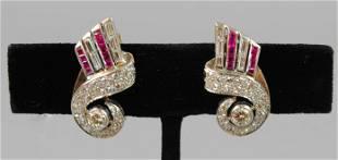 PAIR ART DECO DIAMOND & RUBY EAR CLIPS, 2.14CTW