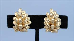 PAIR 14K PINE CONE CLUSTER EAR CLIPS