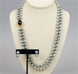 BLUE BAROQUE PEARL NECKLACE & EARRINGS
