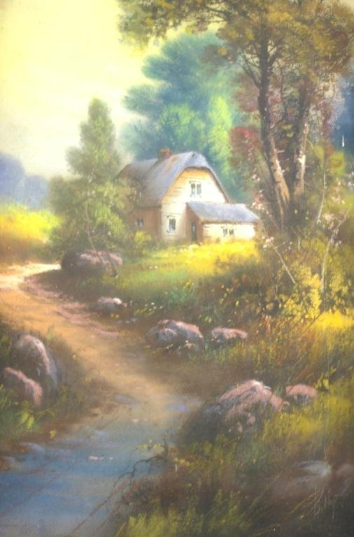22: COTTAGE SCENE PASTEL SIGNED PHILLIPS, 27x13in.