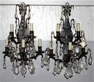 300 PAIR OF FIVELIGHT BRASS  CRYSTAL WALL SCONCES
