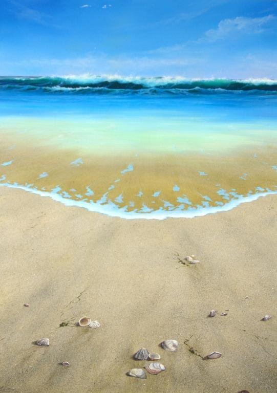 4: TWO CONTEMPORARY BEACHSCAPE PAINTINGS SIGNED LIN