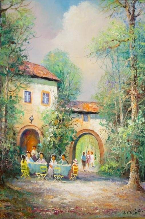 5: CONTEMPORARY OUTDOOR CAFE SCENE PAINTING