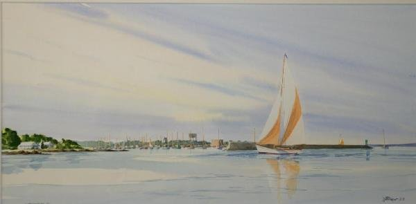 6: WATERCOLOR OF DOCKED SAILBOATS BY YVES PARENT